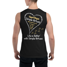 "Load image into Gallery viewer, Black Men's ""HeartSteps"" Muscle Shirt"