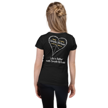 "Load image into Gallery viewer, Black ""Peace Heart"" Girl's Cut Slim Fit T-Shirt"