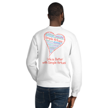 "Load image into Gallery viewer, White ""Heart Full of Virtues"" Unisex Sweatshirt"