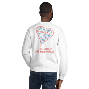 "White ""Heart Full of Virtues"" Unisex Sweatshirt"