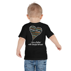 "Black ""Heart Full of Virtues"" Toddler Short Sleeve Tee"