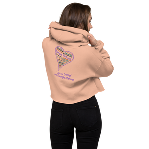 "Peach ""Heart Full of Virtues"" Crop Hoodie"