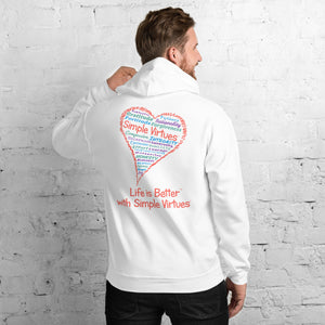 "White ""Heart Full of Virtues"" Unisex Hoodie"