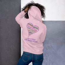 "Load image into Gallery viewer, Pink ""Heart Full of Virtues"" Unisex Hoodie"