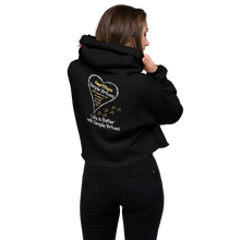 "Load image into Gallery viewer, Black ""HeartSteps"" Crop Hoodie"