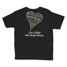 "Load image into Gallery viewer, Black ""Heart Full of Virtues"" Youth Unisex T-Shirt"