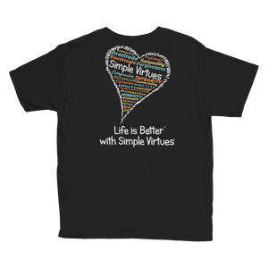 "Black ""Heart Full of Virtues"" Youth Unisex T-Shirt"