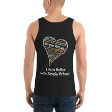 "Load image into Gallery viewer, Black Men's ""Heart Full of Virtues"" Tank Top"
