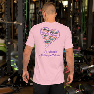 "Pink ""Heart Full of Virtues"" Short-Sleeve Unisex T-Shirt"