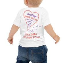 "Load image into Gallery viewer, White ""HeartSteps"" Baby Short Sleeve Tee"