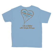 "Load image into Gallery viewer, Light Blue ""Peace Heart"" Youth Unisex T-Shirt"
