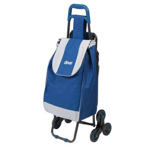 Deluxe Rolling Shopping Cart with Seat, Blue