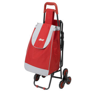 Deluxe Rolling Shopping Cart with Seat, Red
