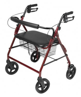 Lumex (Bariatric) Walkabout Four-Wheel Imperial Rollator - Straight Backbar, Burgundy