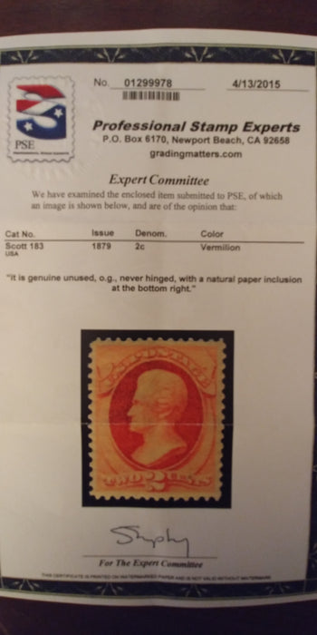 #183 Mint 4-15 PSE certificate stating never hinged and natural paper inclusion at bottom right. VF/XF NH