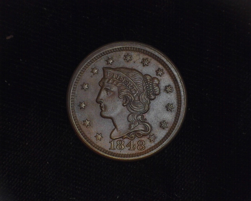1848 Large Cent Braided Hair BU MS-63 Obverse - US Coin - Huntington Stamp and Coin