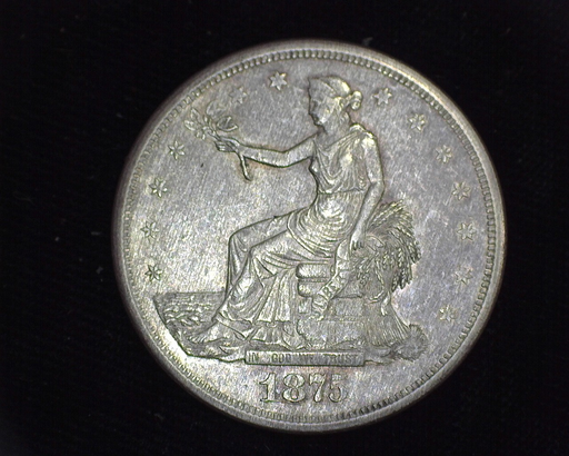 1875 S Trade AU Obverse - US Coin - Huntington Stamp and Coin