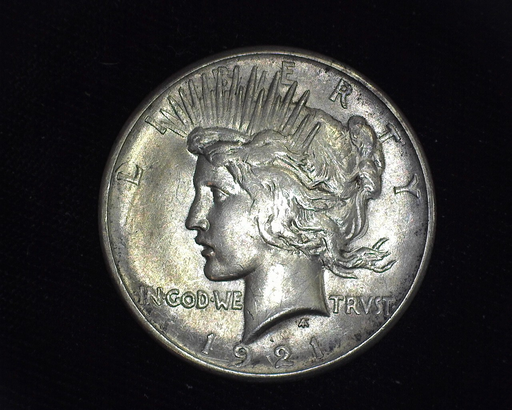 1921 Peace BU MS-63 Nicely toned. Obverse - US Coin - Huntington Stamp and Coin