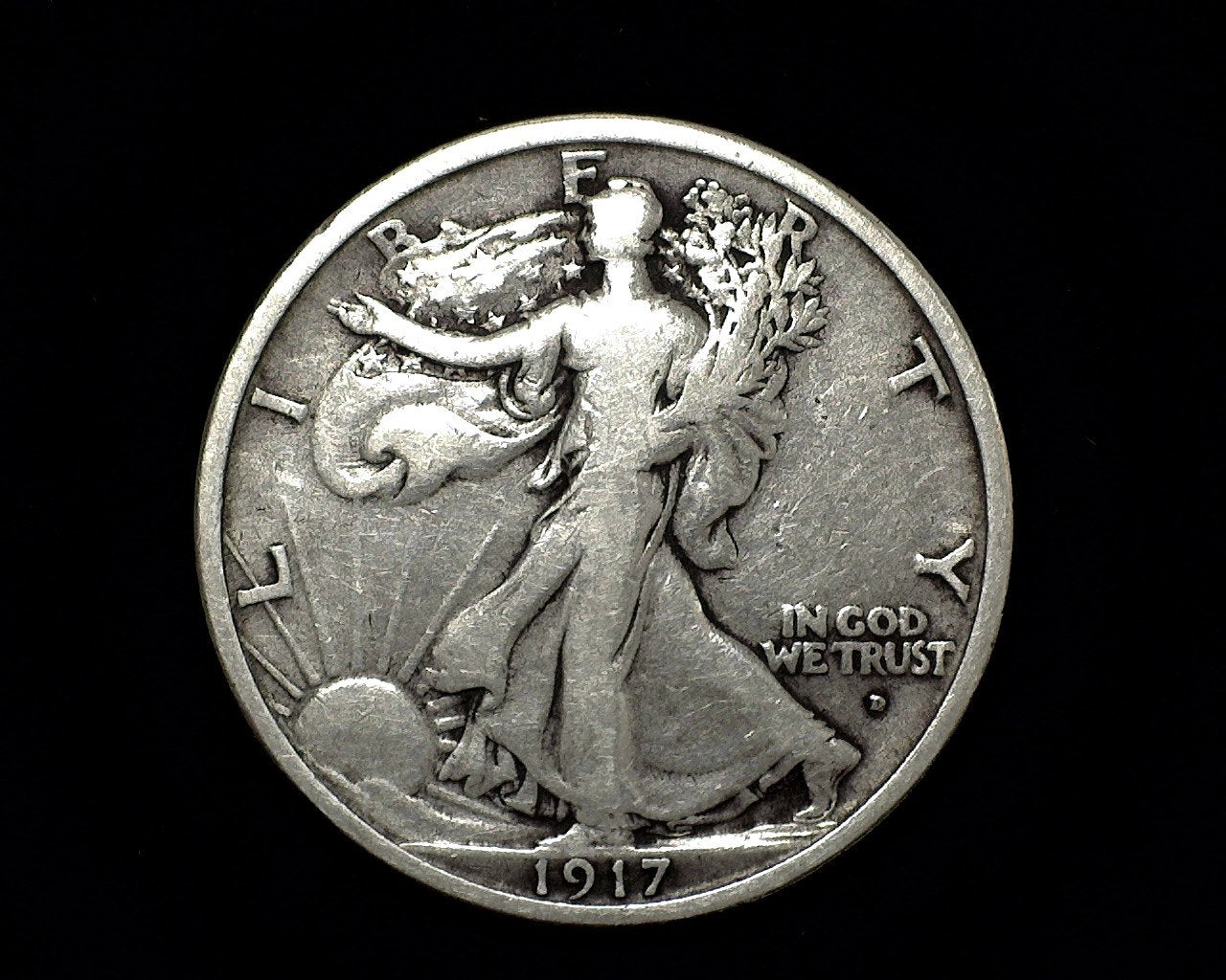 Hs C 1917 D Obv Walking Liberty Half Dollar Vg F Coin