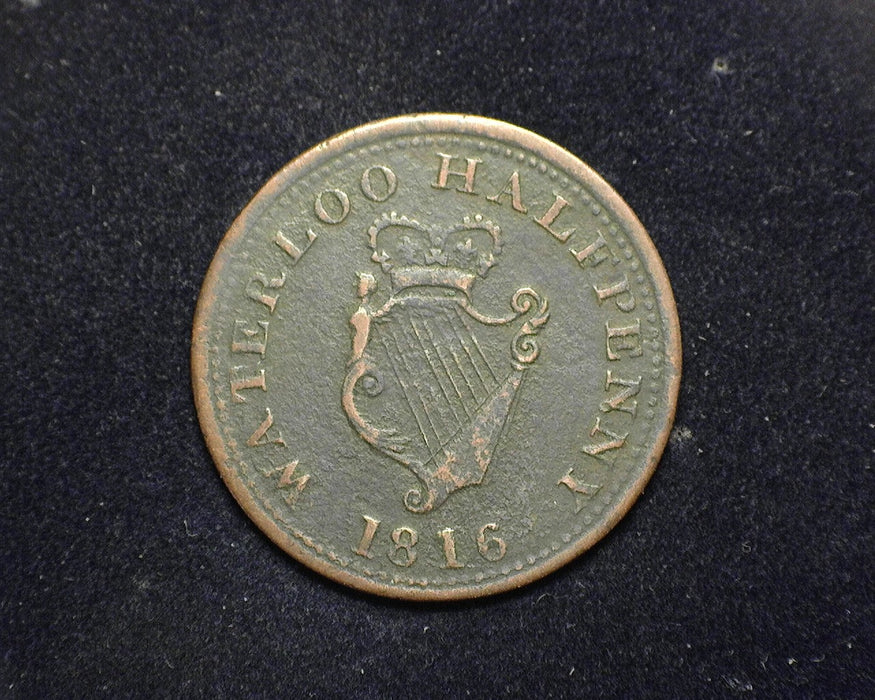 1816 Waterloo 8 String Half Penny - Canada Coin