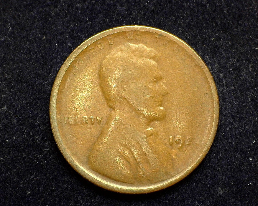 1922 Lincoln Wheat Penny/Cent F Plain nice example of rare coin Die 3 - US Coin