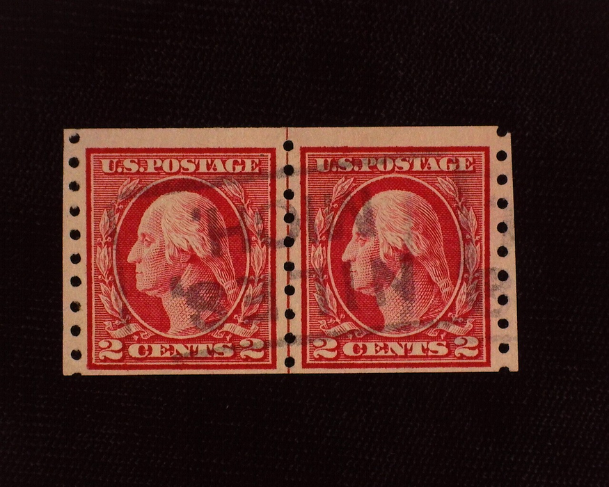 HS&C: US #413 Stamp Used Scarce used guide line horizontal pair. F/VF