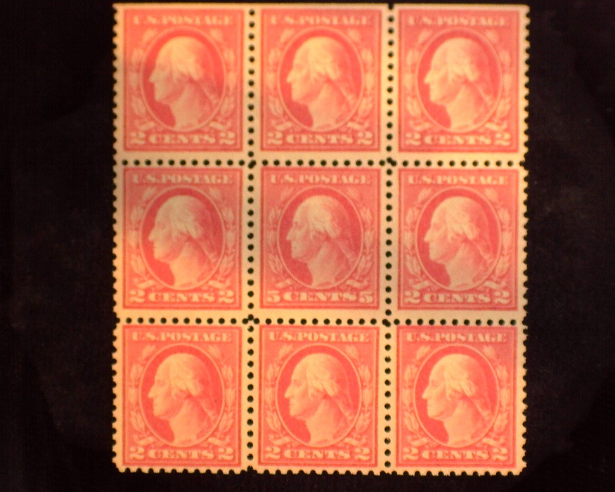 HS&C: US #505 Stamp Mint Block of 9 with middle stamp #505. Whole block NH F+ NH