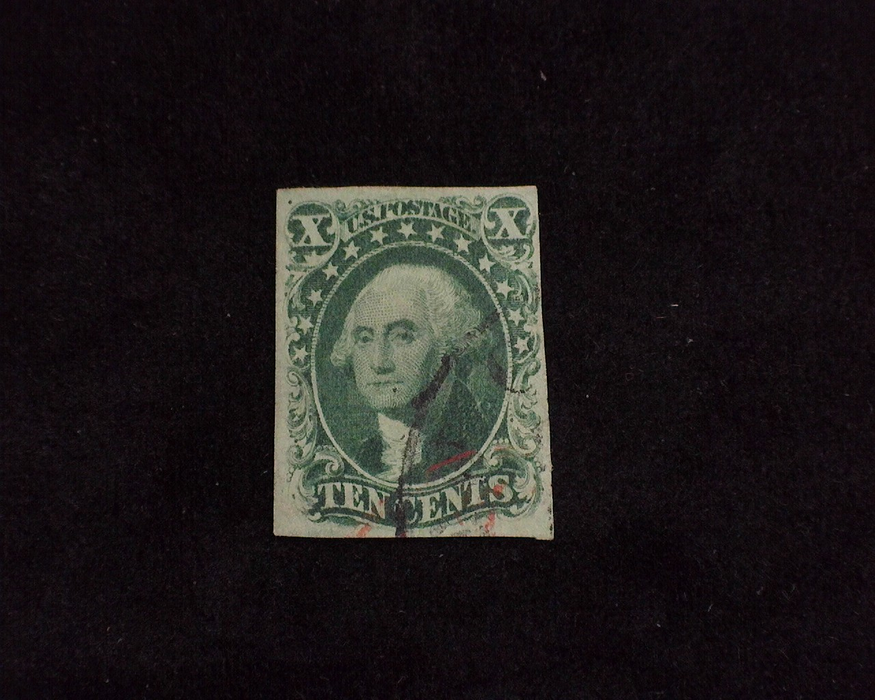 HS&C: US #14 Stamp Used Four margin stamp with Face Free cancel. VF
