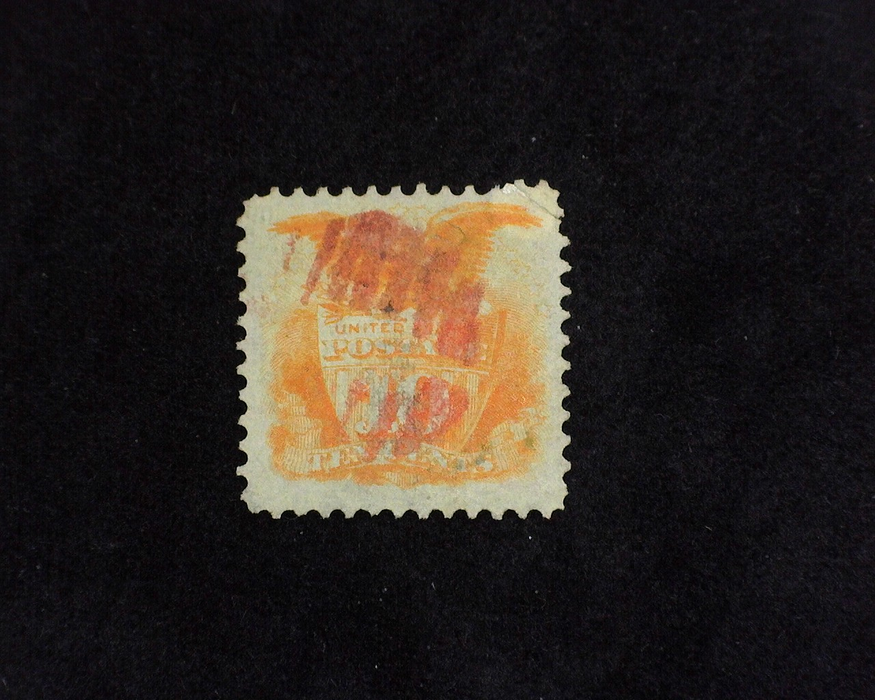 HS&C: US #116 Stamp Used Fresh stamp with Red Grid cancel. Corner crease. VF