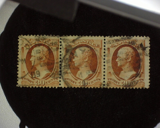 HS&C: US #217 Stamp Used Scarce horizontal strip of three. Right stamp with paper wrinkle. F
