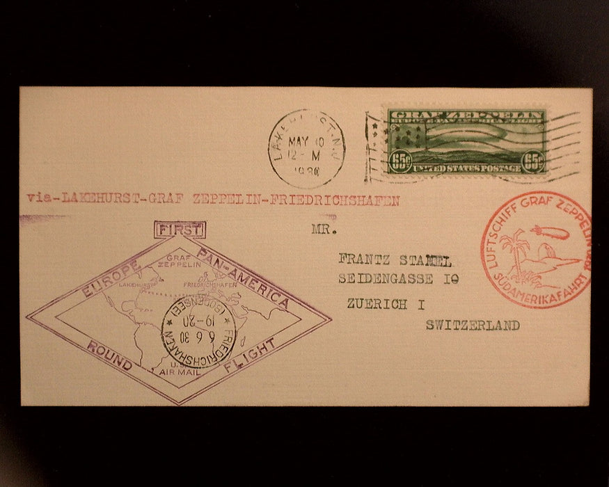 #C13 C14 C15 Used 1930 Zeppelin Issue set on covers Flown via Graf Zeppelin Nice set VF/XF