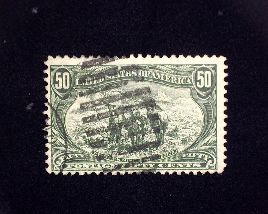 #291 Used 50 cent Trans Mississippi. Pin head thin. F
