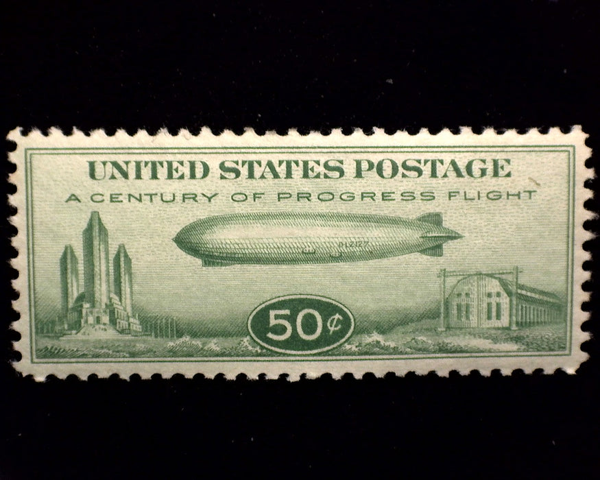 #C18 50 cent Zeppelin Airmail XF NH Mint