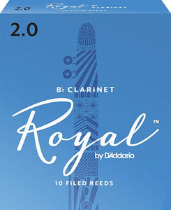 Rico Royal Bb Clarinet Reeds, Strength 2.0, 10-pack