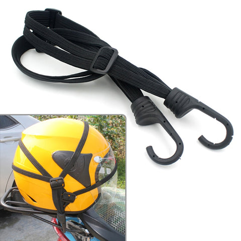Black Moto Luggage Helmet Bungee Cord Elastic Strap with Hook