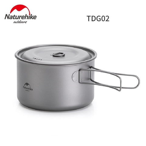 Naturehike Outdoor Titanium Pot Frying Pan Ultralight Set with Folding Handle