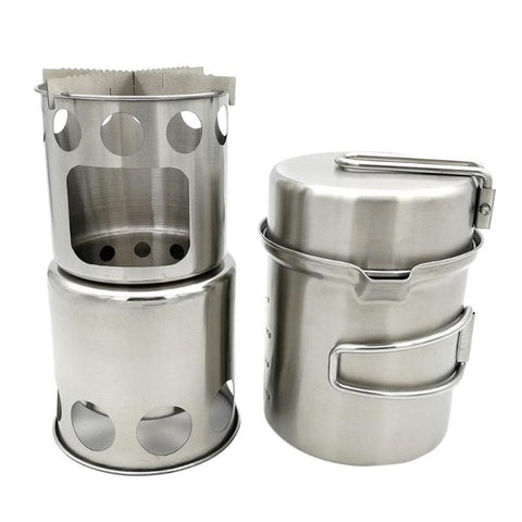 Outdoor Camping Cooking Pot Set, Stainless Steel