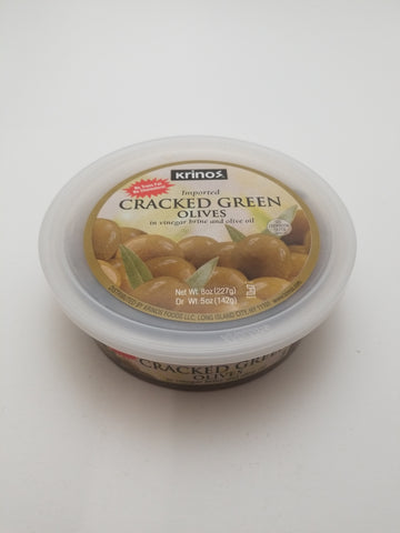 Krinos Cracked Green Olives Deli Cup 8oz - Nick's International Foods