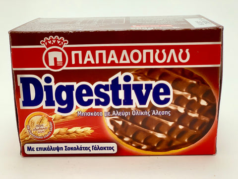 Papadopoulos Digestive Biscuits w/ Whole Grain Flour & Milk Chocolate 200g