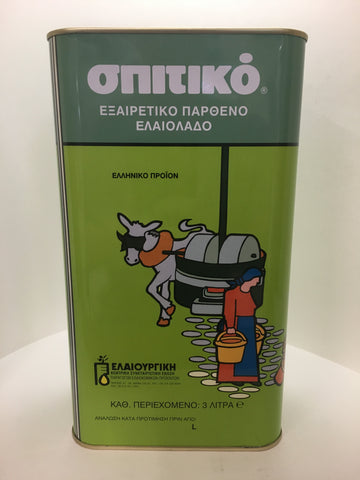 Spitiko Extra Virgin Olive Oil 3 Liter Tin