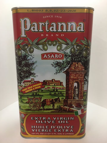 Partanna Sicillian Extra Virgin Olive Oil 3 Liter Tin