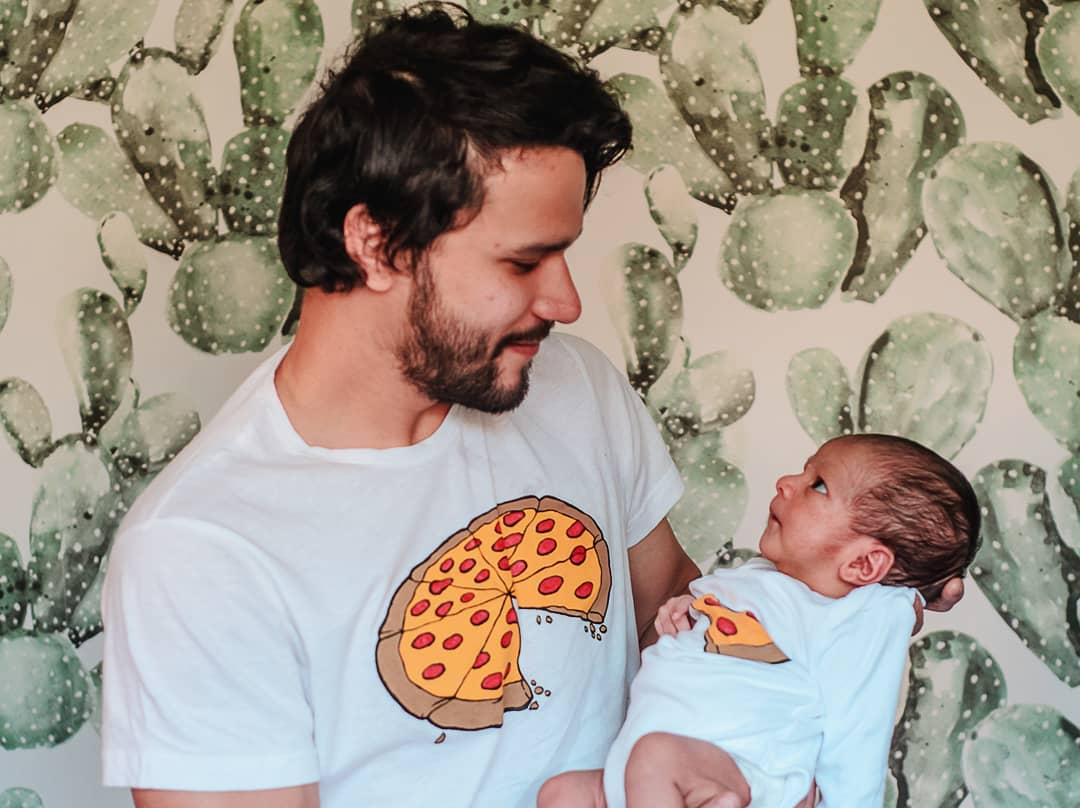 pizza dad and baby