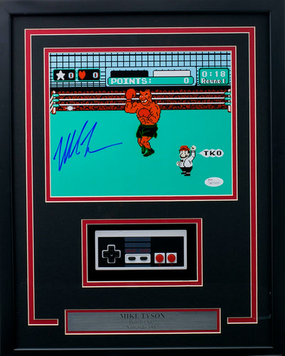 Mike Tyson Signed Framed 8x10 Punch Out Photo Nintendo Controller JSA