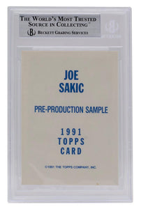 Joe Sakic Signed Slabbed 1991 Topps #3 Pre Production Sample Card BAS