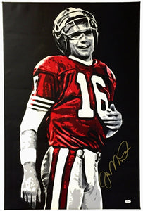 Joe Montana SF 49ers Signed Stretched Original Painting 23x35 By Geo Thomson JSA