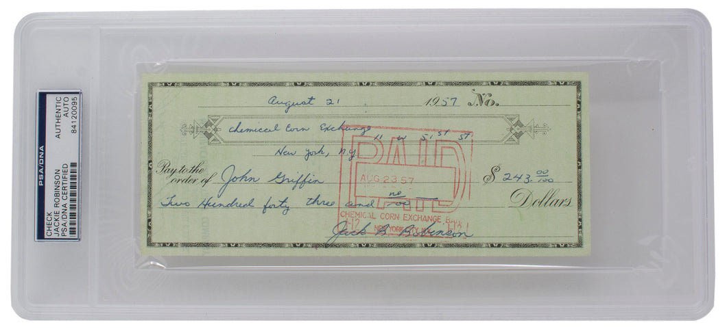 Jackie Robinson Brooklyn Dodgers Signed Check to Senator John Griffin PSA/DNA