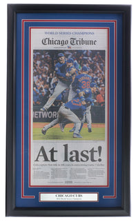 Cubs Framed 2016 World Series Champs Chicago Tribune At Last Newspaper