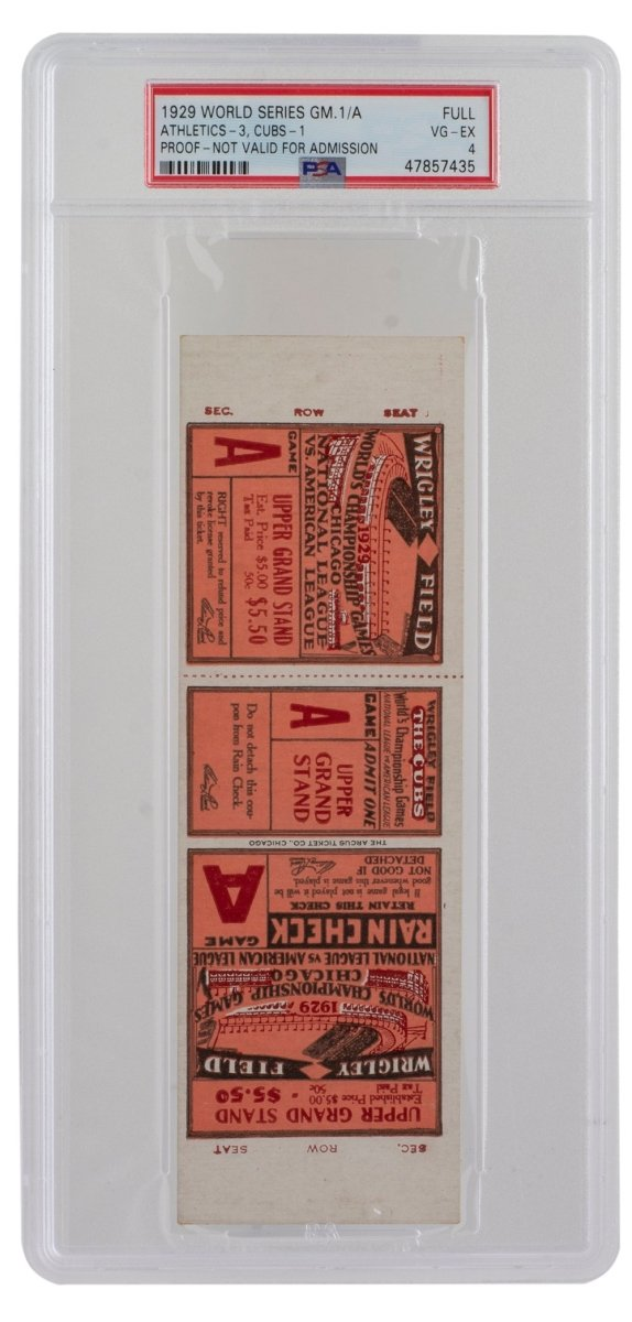 1929 Athletics vs. Cubs World Series Full Ticket PSA VG-EX 4 - Sports Integrity