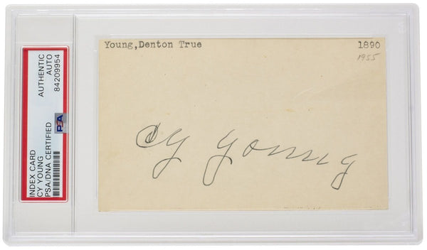 1950s Cy Young Signed Slabbed Cleveland Spiders Index Card PSA/DNA - Sports Integrity
