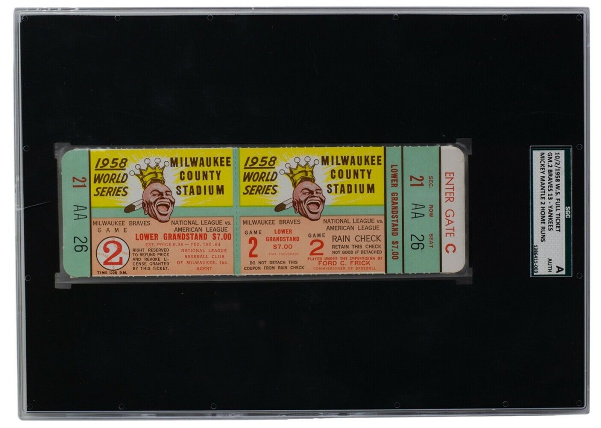 1958 World Series Game 2 Ticket Mantle HR 10-11 Braves vs Yankees SGC Slabbed - Sports Integrity